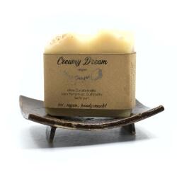 creamy dream Seife mit Seifenschale Frontansicht