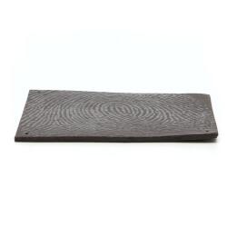 Handgefertigte Wandplatte / Fliese mit schwarzem Fingerabdruck - Seitenansicht