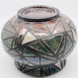 Design Vase aus dem Rakubrand mit geometrischen Muster - blau und kupfer - Unterseite