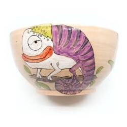 Große handgetöpferte sowie witzig von Hand bemalte (Obst)Schale - Joker Chamaläon