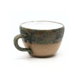 Große handgefertigte Tasse mit schönem Craquelé - braun / grün - Seitenansicht