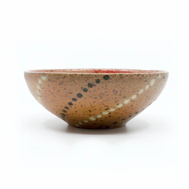 schöne handgefertigte (Müsli)Schale aus dem Holzbrandofen mit Ascheanflugglasur - Außenseite