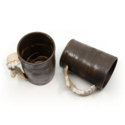 Handgetöpferte Tassenpaar Unterkiefer LARP Utensil Trinkbecher Humpen makaber - Innen