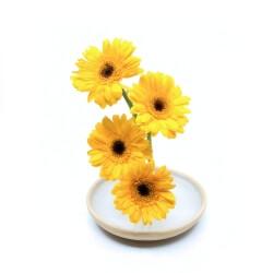 handgemachte Ikebana Vase mit Blumen von oben