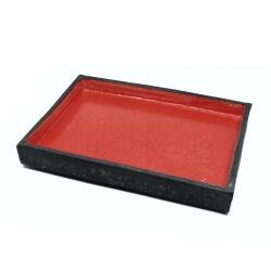 Handgefertigte eckige rote (Ikebana) Schale / Vase aus dem Raku-Brand - oben