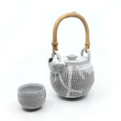 Teekanne mit Bambusgriff & Teeschale im japanischen Stil - Front