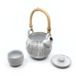 Teekanne mit Bambusgriff & Teeschale im japanischen Stil - Innenansicht