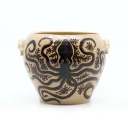 Handgefertigte bemalte Etruskervase nach antikem Original - Amphore - Seitenansicht