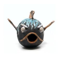 Nisthilfe - handgefertigter Raku Fisch - blauer Kugelfisch - Frontansicht