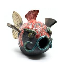 Raku Fisch Vogelhaus