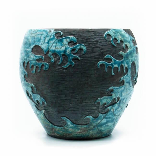 """große Design Vase mit """"Die große Welle vor Kanagawa"""" aus dem Rakubrand - Aussenansicht"""