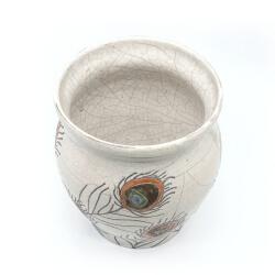 große Design Vase mit Pfauenfedern aus dem Rakubrand - Innen
