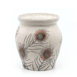 große Design Vase mit Pfauenfedern aus dem Rakubrand - Detailansicht
