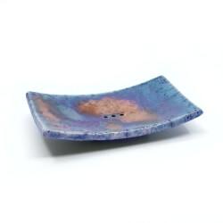 Handgefertigte eckige blaue Seifenschale mit Kupferakzenten aus dem Raku-Brand - Draufsicht