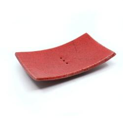 Handgefertigte eckige rote Seifenschale aus dem Raku-Brand - Draufsicht