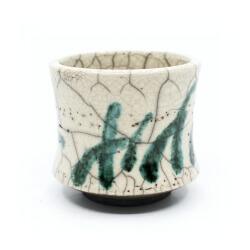 Raku Teeschale 'grüner Bambuswald' Detail