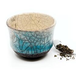 blauer Design Chawan aus dem Rakubrand - wasserblauer Verlauf - Außenansicht