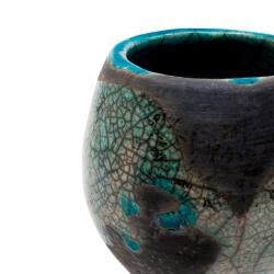großer blauer Design Chawan aus dem Rakubrand mit wasserblauen Tropfen - Detail