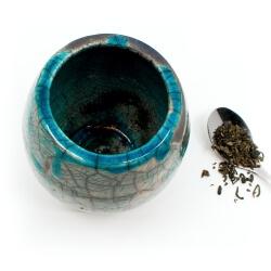 großer blauer Design Chawan aus dem Rakubrand mit wasserblauen Tropfen - Innenansicht