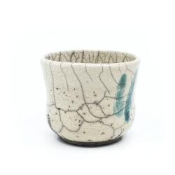 Raku Teeschale 'blaue Finger' Detail