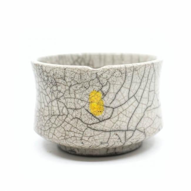 handemachte Raku Teeschale 'gelbe Leuchte'