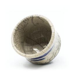 Raku Teeschale 'blaue Nebelschwaden' Innenseite