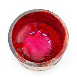 toller roter Design Chawan aus dem Rakubrand mit orangen Akzenten - Innenansicht
