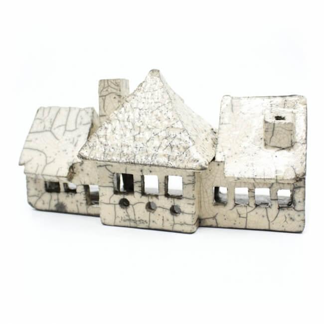 weißes Raku Teelicht Haus