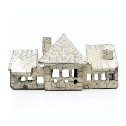 weißes Raku Teelicht Haus Frontansicht