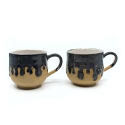 Schmelzende Tropfen Tassen Paar anthrazid Frontseite