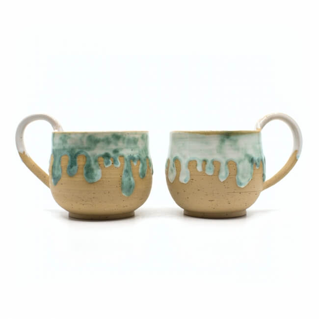 schmelzende Tasse Paar in mint Aussenseite