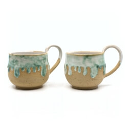 schmelzende Tasse Paar in mint Frontseite