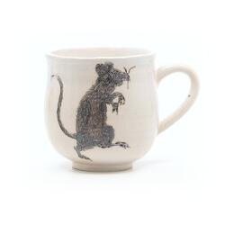 Schöne weiße handgefertigte Tasse mit Zombi Ratte Silhouette - Henkel