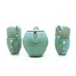 Handgefertigtes Teeservice in grün/blau - kleines Geschirrset - von vorne
