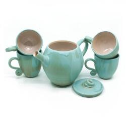 Handgefertigtes Teeservice in grün/blau - kleines Geschirrset - Vorderansicht