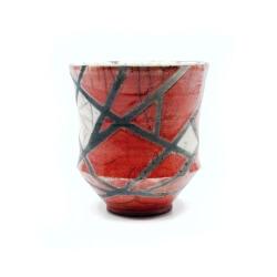 roter Design Chawan aus dem Rakubrand mit geometrischem Muster - Seitenansicht 1