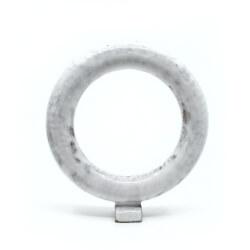 Handgemachte zirkulaere weiße Vase - Frontansicht