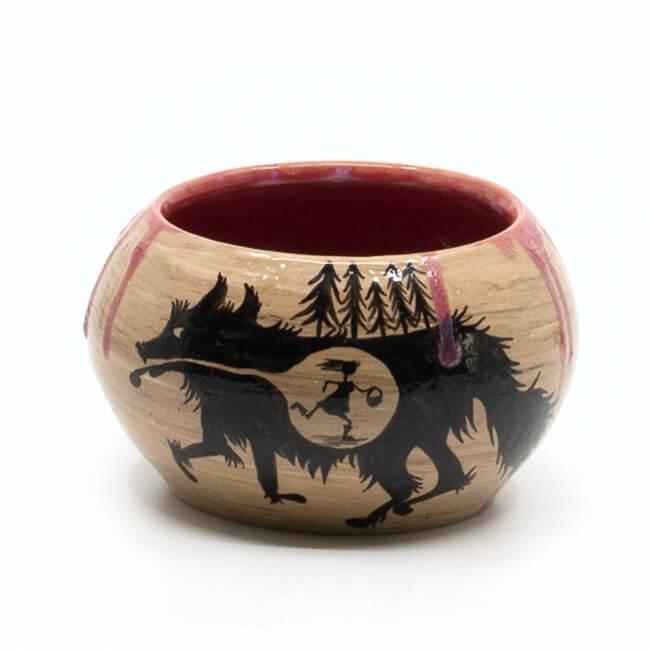 Schöne Deko-Schale - Rotkäppchen und der Wolf - Wolf auf Außenseite
