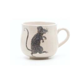 Schöne weiße handgefertigte Tasse mit Zombi Ratte Silhouette - Seitenansicht 1