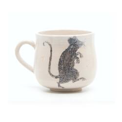 Schöne weiße handgefertigte Tasse mit Zombi Ratte Silhouette - Seite